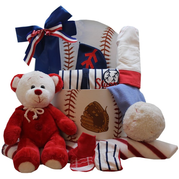 New Baby Boy Gift Baskets Free Shipping : American all star new baby boy gift basket with teddy bear