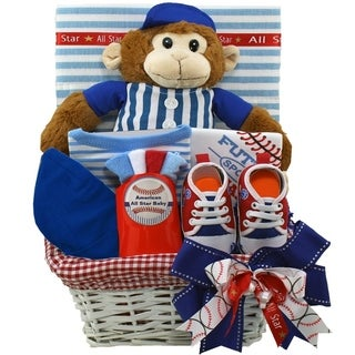 American All Star New Baby Boy Gift Basket with Teddy Bear