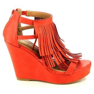 Beston EA95 Women's Chic Fringe Cut-out Zip Slip-on Wedge Sandal