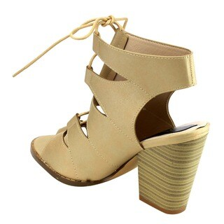 Beston EB03 Women's Peep Toe Lace Up Cut Out High Stacked Chunky Ankle Booties