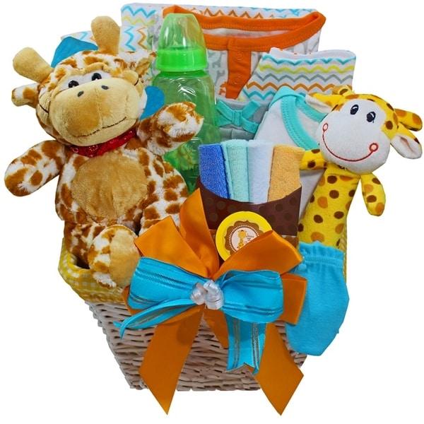 Jessie the Giraffe Baby Neutral Boy or Girl Gift Basket
