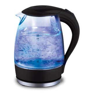 Cordless 1.7 Liter Drip free Glass Electric Kettle with Automatic Pop-Up Lid