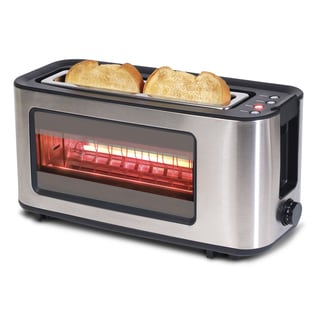 Stainless Steel Glass 2 Slice Toaster