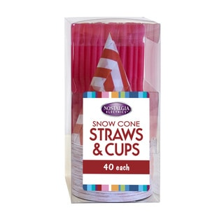 Nostalgia SCSTRAWCUP40 Snow Cone Straws and Cups