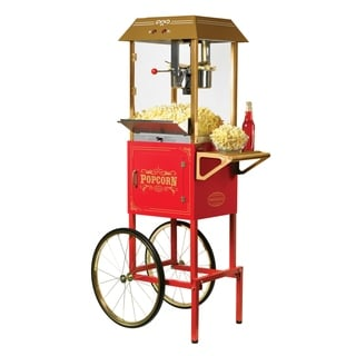 Nostalgia CCP1000RED 59-Inch Tall Vintage Collection 10-ounce Popcorn Cart