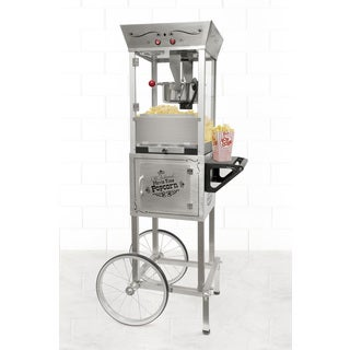 Nostalgia SPC700SS 53-Inch Tall Vintage Collection Stainless Steel 6-Ounce Kettle Popcorn Cart