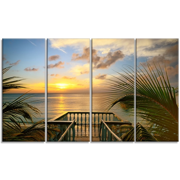 Designart - Sunset Sea View from Terrace - 4 Panels Photo Canvas Art Print