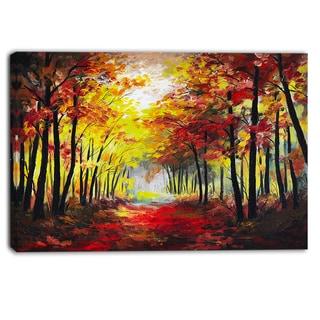 Designart - Walk Through Autumn Forest - Landscape Canvas Artwork