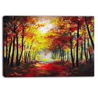 Designart - Walk Through Autumn Forest - Landscape Canvas Artwork - Red