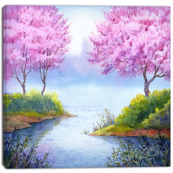 Designart - Flowering Trees Over Lake - Landscape Canvas Artwork