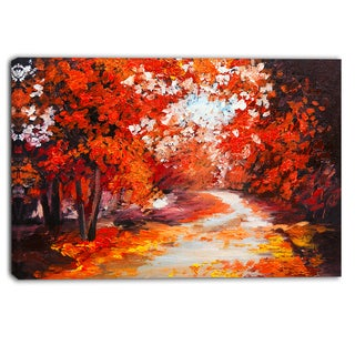 Designart - Forest in the Fall - Landscape Canvas Artwork