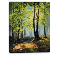 Designart - Green Autumn Forest - Landscape Canvas Art Print