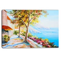 Designart - House and Sea in the Fall - Landscape Canvas Art Print