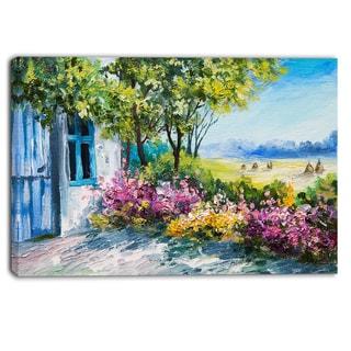 Designart - Garden near the House - Landscape Canvas Art Print - Green