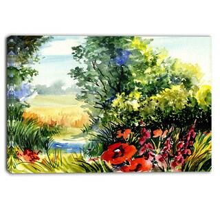 Designart - Watercolor Landscape with Flowers - Landscape Canvas Print