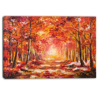 Designart - Autumn Forest in Red Shade - Landscape Canvas Art Print