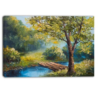 Designart - Summer Forest with Beautiful River - Landscape Canvas Print