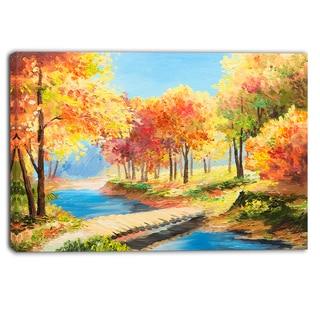 Designart - Wooden Bridge in Colorful Forest - Landscape Canvas Print