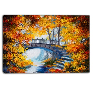 Designart - Fall Forest with a Bridge - Landscape Canvas Artwork