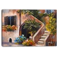 Designart - Summer Terrace - Landscape Canvas Art Print - Green