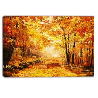 Designart - Yellow Autumn Forest - Landscape Canvas Art Print
