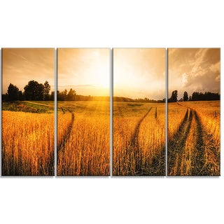 Designart - Wheat Field at Sunset Panorama - 4 Panels Photo Canvas Art Print