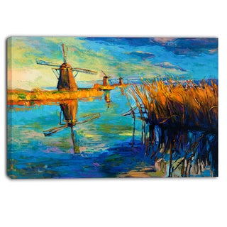 Designart - Windmills with Sky and Water - Landscape Canvas Print