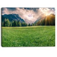 Designart - Triglav Mountain Panorama - Landscape Photo Canvas Print - Green
