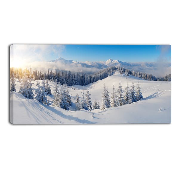 Designart Winter Mountains Panorama Photography Canvas Print White Overstock 11357921