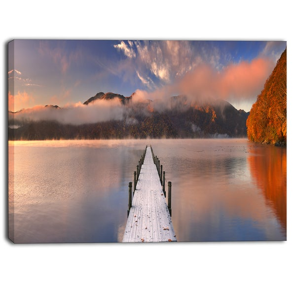 Designart - Jetty in Lake Japan Seascape Photography Canvas Print - Blue