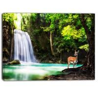 Designart - Erawan Waterfall - Landscape Photo Canvas Art Print - Blue