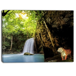 Designart - Tiger Watching Waterfall - Landscape Photography Canvas Print