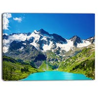 Designart - Green Mountain Lake  Photography Canvas Art Print