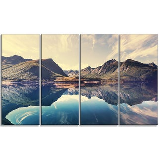 Designart - Norway Summer Mountains - 4 Panels Landscape Photo Canvas Print