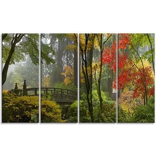 Designart - Japanese Wooden Bridge in Fall - 4 Panels Photo Canvas Art Print