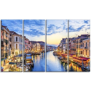 Designart - Grand Canal Panorama - 4 Panels Landscape Photo Canvas Print