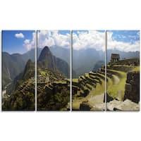 Designart - Machu Picchu Panorama - 4 Panels Landscape Photo Canvas Art Print - Green