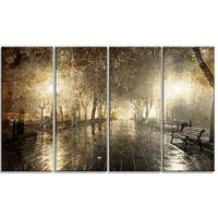 Designart - Night Alley with Lights - 4 Panels Photography Landscape Canvas Print - Black