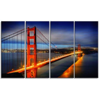 Designart - Golden Gate Bridge - 4 Panels Landscape Photo Canvas Print