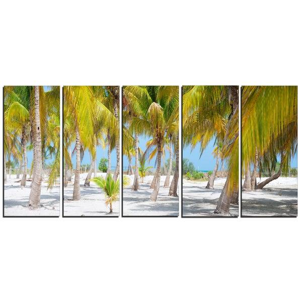 Designart - Palm Trees - 5 Piece Landscape Photography Canvas Art Print - Green