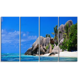 Designart - Seychelles Beach Panorama - 4 Panels Landscape Photo Canvas Print