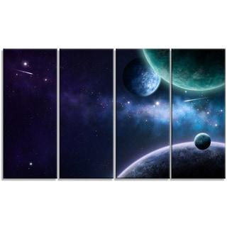 Designart - Blue and Purple Nebula - 4 Panels Contemporary Canvas Art Print