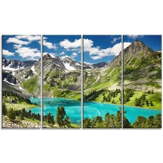 Designart - Mountain Lake and Blue Sky - 4 Panels Photo Canvas Art Print