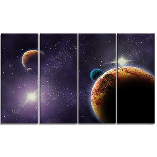 Designart - Planets in Deep Dark Space - 4 Panels Contemporary Artwork