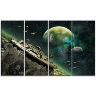 Designart - Alien Planet - 4 Panels Digital Artwork Print on Canvas