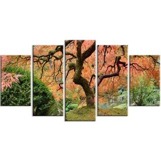 Designart - Old Japanese Maple Tree - 5 Piece Landscape Photography Canvas Print