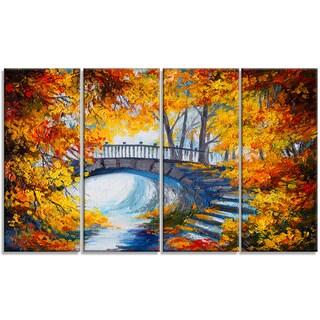 Designart - Fall Forest with a Bridge - 4 Piece Landscape Canvas Artwork