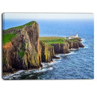 Designart - Rocky Ocean Coastline Scotland  Photo Canvas Art Print - Blue