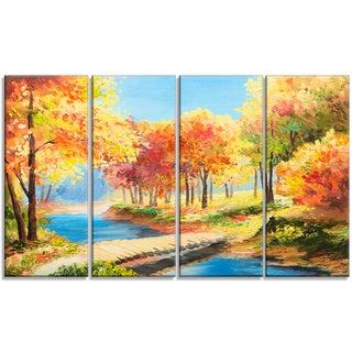 Designart - Wooden Bridge in Colorful Forest - 4 Piece Landscape Canvas Print