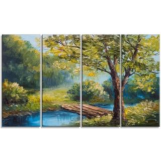 Designart - Summer Forest with Beautiful River - 4 Piece Landscape Canvas Print